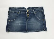 Cycle gonna jeans minigonna S usata denim blu skirt dress hot disco sexy T3002