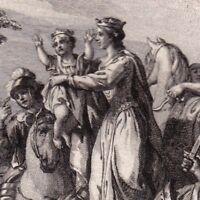Gravure XVIIIe Frédégonde Haranguant son Armée Clotaire Landry Maire de Palais