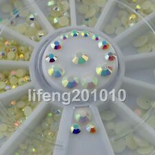 Acrylic 3D Nail Art Glitter Rhinestones Wheel Nail Decoration Tools White AB NEW