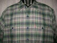 Levi's Flannel Shirt Western Style Button Down Men's Size XL Gray Green Plaid