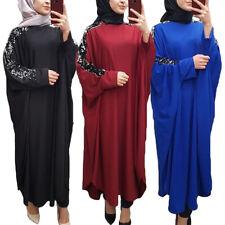 Sequins Abaya Batwing Sleeve Farasha Jilbab Full Length Maxi Dress Kaftan Muslim