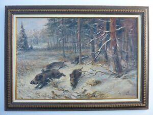"""Willi Lorenz 1901-1981 """"Treibjagd"""" Öl Jagdgemälde Jagdmaler Wildschwein Jagd"""