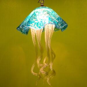 Hand Blown Glass Chandelier - Jellyfish Chandelier - Jellyfish Light - Turquoise