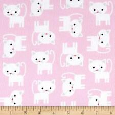Fabric Cats Kittens White on Super Soft Pink Flannel by the 1/4 yard BIN