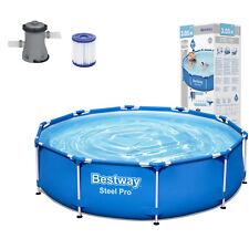Bestway Steel Pro™ Frame Pool, 305x76 cm, Set mit Filterpumpe rund blau 56679