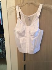 Glamorise, white, longline, front closure, back support posture bra 38C NWT