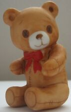 Vintage 1982 Schmid Porcelain Bear Figurine Made in Taiwan Stitched Red BowTie