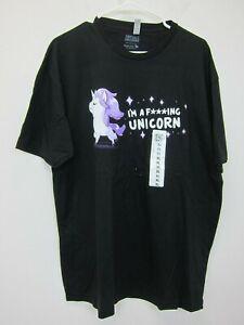 TeeTurtle Adult I'm a F-ing Unicorn T-Shirt XL Black  New