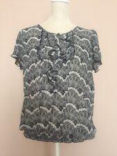 Evie Eyelash Pattern Sheer Black Grey Ruffle Keyhole Bubble Top Blouse Size 16