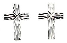 Sterling silver stud earrings small cross religious design diamond cut finish