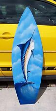 Marlin Surfboard Wall Art Hand painted handcrafted wooden board nautical beach