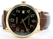 Casio Mens Gold Analog Brown Leather Band Mtp-v002gl-9b Watch With Date