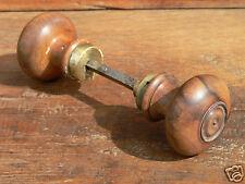 paire bouton poignée de porte ancien XIXe noyer estampillé handle door knob 19th