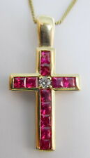 14K Yellow Gold With 1.02 Carat Ruby and 0.07 Carat Diamond Cross Necklace
