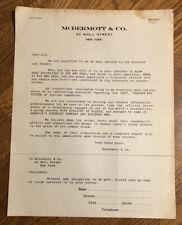 Antique Advertising Letterhead Wall Street New York City McDermott & Company