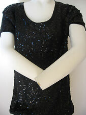 VICTORIA'S SECRET SUPERMODEL Essentials Sequin Top Tunic Dress BLING BLACK XS
