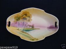 VINTAGE NIPPON OVAL TRAY PORCELAIN HAND PAINTED OPENED HANDLE CANDY DISH MARKED