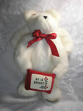 """BOYDS WHITE ANGEL PLUSH BEAR CHRISTMAS """"ALL IS BRIGHT"""" 1990-00 RETIRED"""