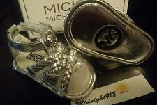 Michael Kors Baby Girl'S Joy Lacey Silver-Tone Plaque Crib Braided Sandals Sz 2