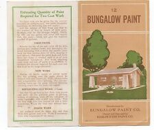 1930 Paint Sample Advertising Brochure Bungalow Paint Company