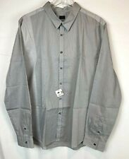 Paul Smith XXL Mens Long Sleeve Button Shirt Grey Striped 100% Cotton