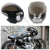 "5 3/4"" Headlight Fairing Windshield Windscreen For Harley Cafe Racer Drag Racing"