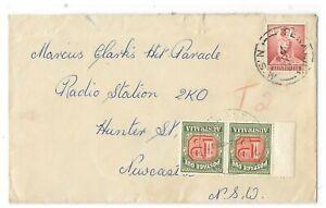 TS357) Australia 1959 small Taxed cover to Marcus Clarks Hit Parade, Radio Stati