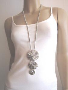 Damen Hals Kette lang Modekette Silber Kreise Statement Blogger Lagenlook Trend