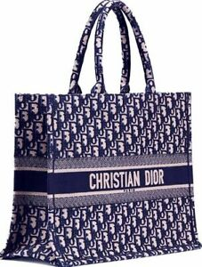 DIOR BOOK TOTE Big Bag Embroidery Dior Oblique Blue 41 cm with a Handle Authent