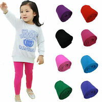 Toddler Baby Girls Cotton Leggings Kids Solid Color Slim Elastic Trousers Pants