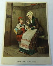 1886 lithograph ~ LITTLE RED RIDING HOOD, Beware the Wolf