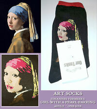 ART SOCKS Johannes Vermeer GIRL WITH A PEARL EARRING Ladies Mens ANKLE Red Black