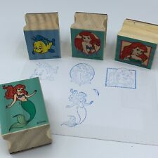 Disney The Little Mermaid Stamp Wooden Rubber Lot of 4 Ariel Flounder Crafts