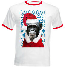 Monkey Christmas Santa - RED RINGER COTTON TSHIRT