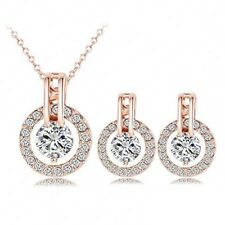 Rose Gold Plated Crystal CZ Necklace Pendant Earrings Wedding Jewelry Set