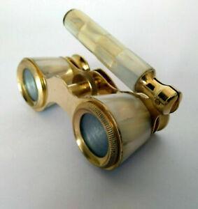 Opera  Binoculars Vintage Brass Pearl Handle Antique Binoculars Telescope Gift.