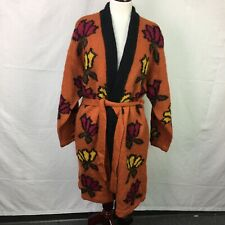 Used Cervelle Orange Abstract Print Knit Wool Blend Cardigan Sweater Womens Sz L