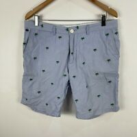 Bing Harris & Co Mens Shorts 34 Blue Striped Palm Trees Chino Pockets