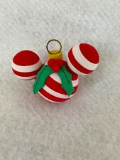 Disneyland CHRISTMAS MICKEY Antenna Topper ORNAMENT BALL RED AND WHITE HOLLY