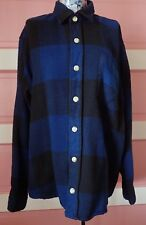 Vtg Shirt Blue Check Wool. M's 34-36. Nice Cond. No Holes/Rips; Some Pilling