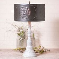 Country new Farmhouse White Davenport lamp with black tin Drum shade/ NICE