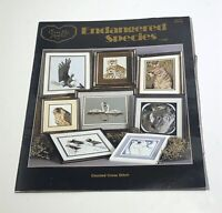 Cross Stitch pattern book Endangered Species VTG 80's Eagle Penguin Wolf Cheetah