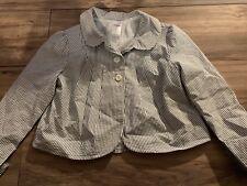 Gymboree FLOWER GARDEN Lined Striped Seersucker Blazer Jacket Size 12 Nwt