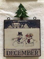 Nancy Thomas December Plaque Snowmen Rare Metal Christmas TreeTopper