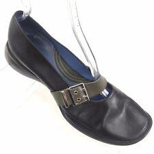 Clarks Indigo Black Leather Mary Jane Military Buckle Womens Balet Flat Size 10M