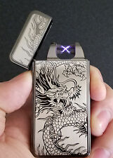 Black Dragon USB Rechargeable Flameless Windproof Dual Arc Electric Lighter