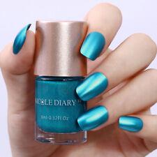 9ml Metallic Nail Polish Mirror Effect Blue Shiny Varnish Tools DIY NICOLE DIARY