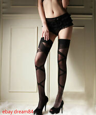 Black Sexy Sheer Thigh Highs Stockings With Opaque Woven Crisscross #2096