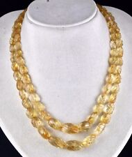 2 LINE 459 CTS NATURAL CITRINE BEADS CARVED OVAL LADIES NECKLACE