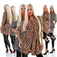 5572 Sexy Damen Bluse Langarm Hemdbluse Tunika Damenbluse Leopard .